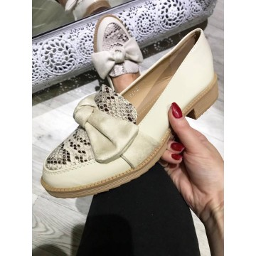 Cream Snakeskin Patent Bow Loafers