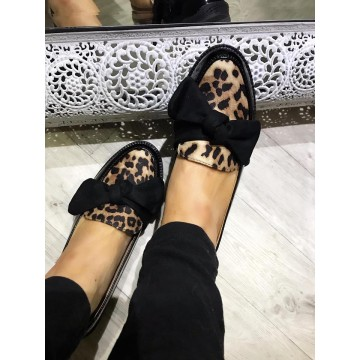 Black Leopard Patent Bow Loafers
