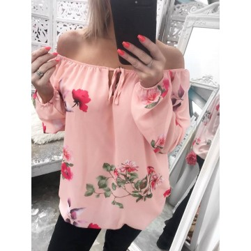 LUCY Bardot Chiffon Floral Top - Baby Pink
