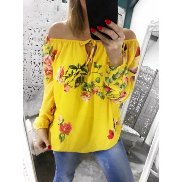 LUCY Bardot Chiffon Floral Top - Yellow