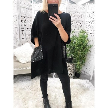 Black Linen Oversized Tunic with Sequin Trim Pockets