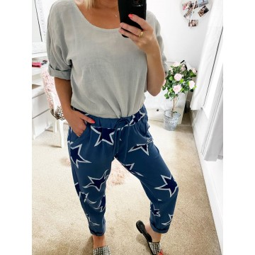 BLUE Navy Star Lounge Pants -One Size fits up to UK 16/18