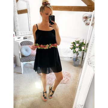 Plain Black Layered Strap Mini Dress - Floral Trim