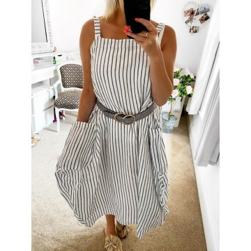 White Striped Oversized Pinfore Dress - ONE SIZE FITS UP T0 UK20