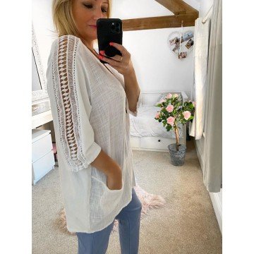 White  Linen Pocket Top with Necklace