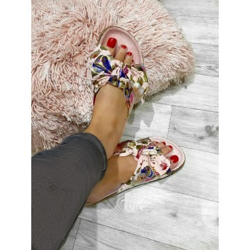 SiSi Pink Floral Suedette sliders