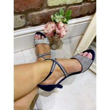 Navy Satin Diamante Low heel Dress shoe