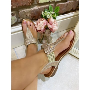 Gold Diamante Bow Toe Thong Sandals - ORDER ONE SIZE UP