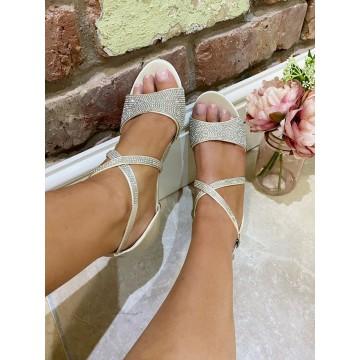 Ivory Satin Diamante heels