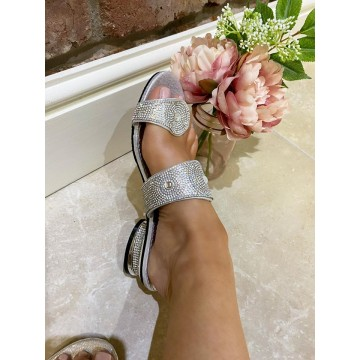 Maddie Silver Diamante Toe post Slips - WIDE FIT