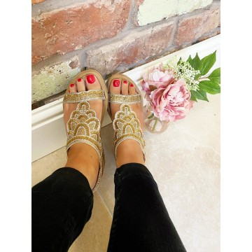 Gold Chunky Shell Sandals - WIDE FIT