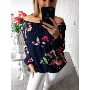 Lucy Bardot Chiffon Floral Top - Navy Blue