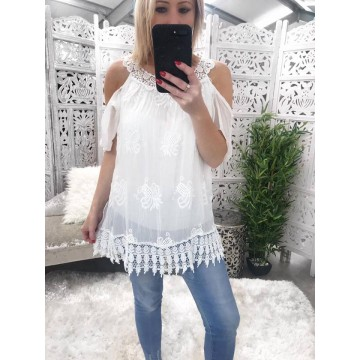 Grecian Cold Shoulder Silk Lined Blouse
