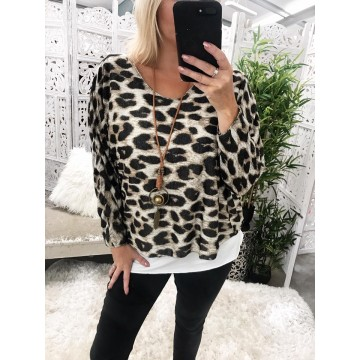 Leopard Lightweight Layered Knit Necklace included