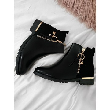 Black Lock and Jewel Chelsea Boots