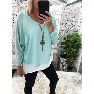 Light Green Lightweight Layered Knit Necklace included