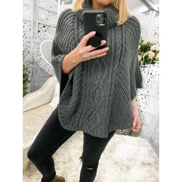 Dark Grey Cable Knit Poncho - One Size 8-18