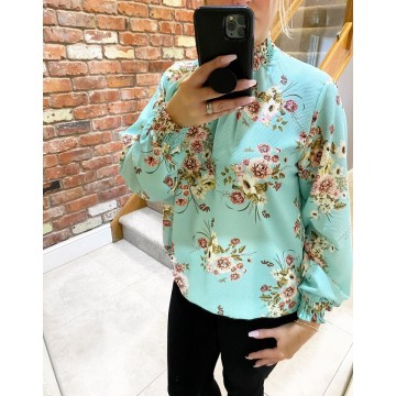PRE -ORDER Floral Elasticated Chiffon Blouse -  One Size, fits up to 14/16 MINT