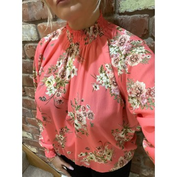 PRE - ORDER Floral Elasticated Chiffon Blouse - One Size, fits up to 14/16 - CORAL