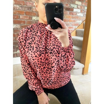 Elasticated Chiffon Blouse - One Size, fits up to 16 - Coral Leopard