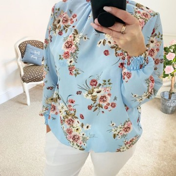 Floral Elasticated Chiffon Blouse - One Size, fits up to 16 - SKY BLUE