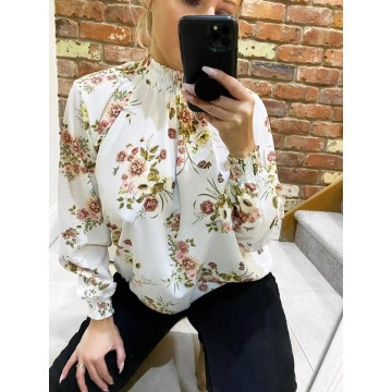 PRE -ORDER Floral Elasticated Chiffon Blouse - One Size, fits up to 14/16 - WHITE