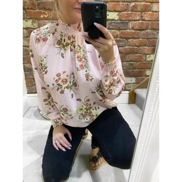 Floral Elasticated Chiffon Blouse - One Size, fits up to 14/16 - BABY PINK