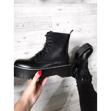 Black Chunky Lace Up Ankle Boots