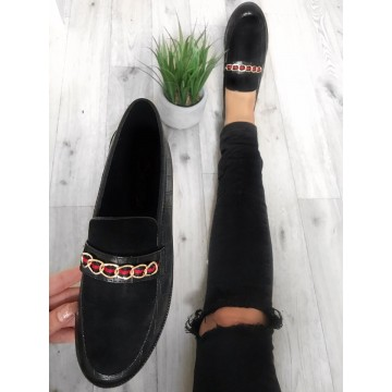 Black Croc Chain Loafers