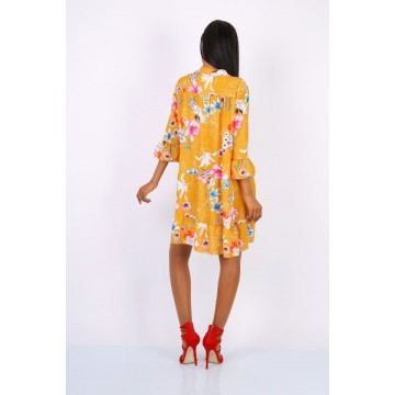 Madeline Swing Dress - Mustard Floral - One Size 8-16