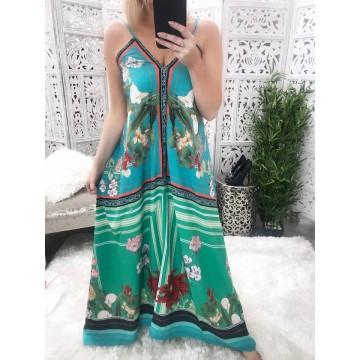Bali Maxi Dress - Green Print