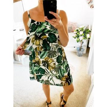 Green Floral Layered Strap Mini Dress - Leaf Print