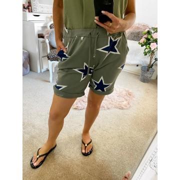 Khaki Navy Star Loose Shorts / One size first upto size  16/18