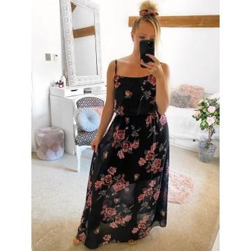 Black Floral Chiffon Layered Maxi Dress