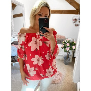 Off the Shoulder Chiffon Top - Coral Reef