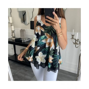 Astonia Black Floral Layered Vest Top