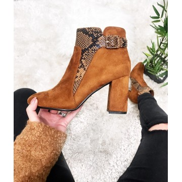 Tan Suedette Boots with Snakeprint Trim