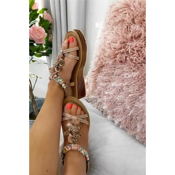 Rose Gold Wedges With Colourful Platt Strap