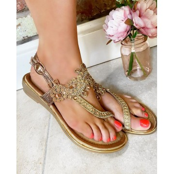 Indiana Rose Gold Toe Thong Sandals