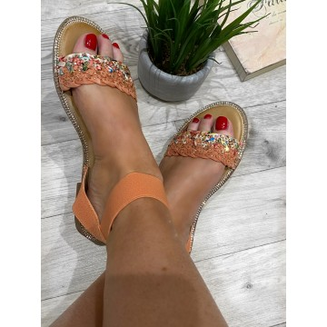 Serene Sparkling Sandals with ankle strap -PINK/PEACH