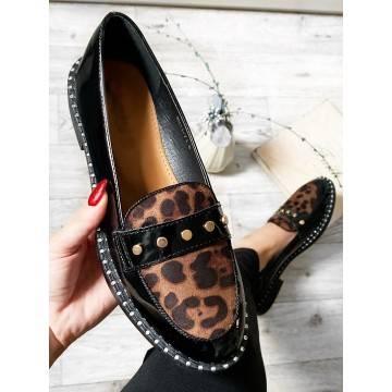 Leopard studded comfort loafers