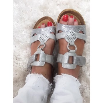 Diana - Silver Grey Lightweight  Wide Fit Sandals