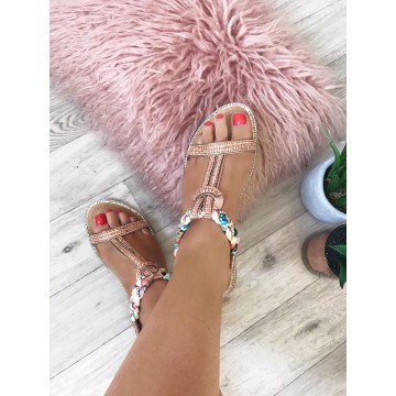 Forget Me Knot - Rose Gold Multicolour Platt Strap Sandals