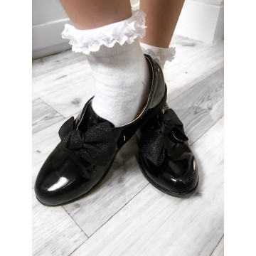 Girls Patent School Shoes with black Bow