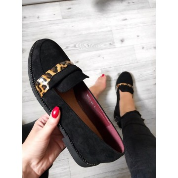 Black Suedette Loafers with Leopard Trim