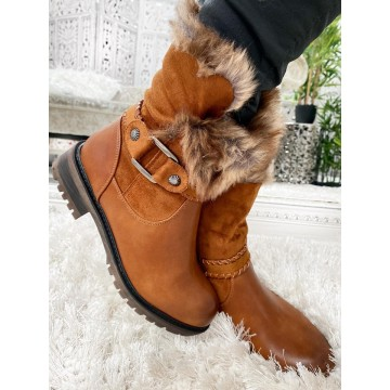 Niki 3/4 Faux Fur Lined Boots - TAN