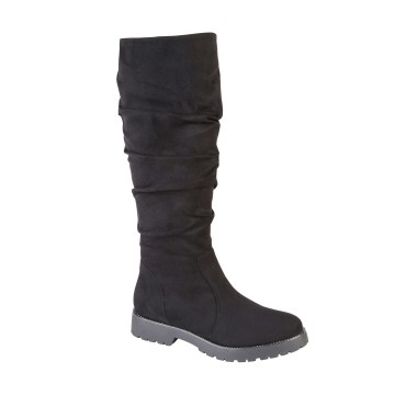 CLAUDETTE Knee High Slouch Boot - BLACK