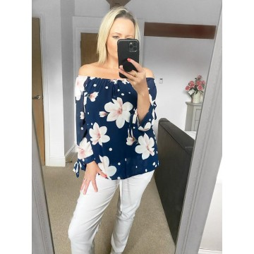 Off the Shoulder Chiffon Top - Navy Floral