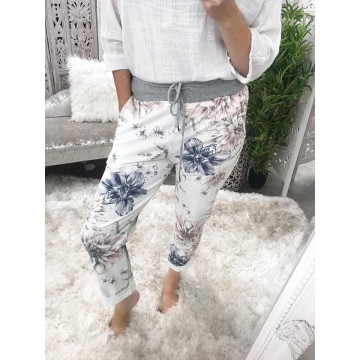 White Floral Tracksuit lounge Pants