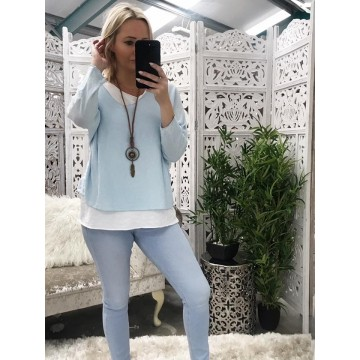 Sky Blue Lightweight Layered Knit Necklace included